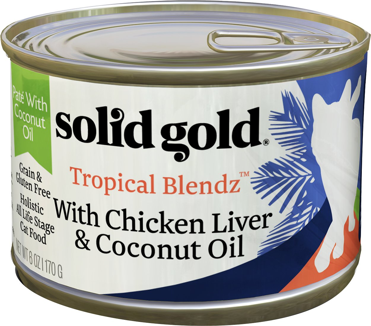 Solid Gold Tropical Blendz with Chicken Liver & Coconut Oil Pate Grain-Free Canned Cat Food, 3-oz