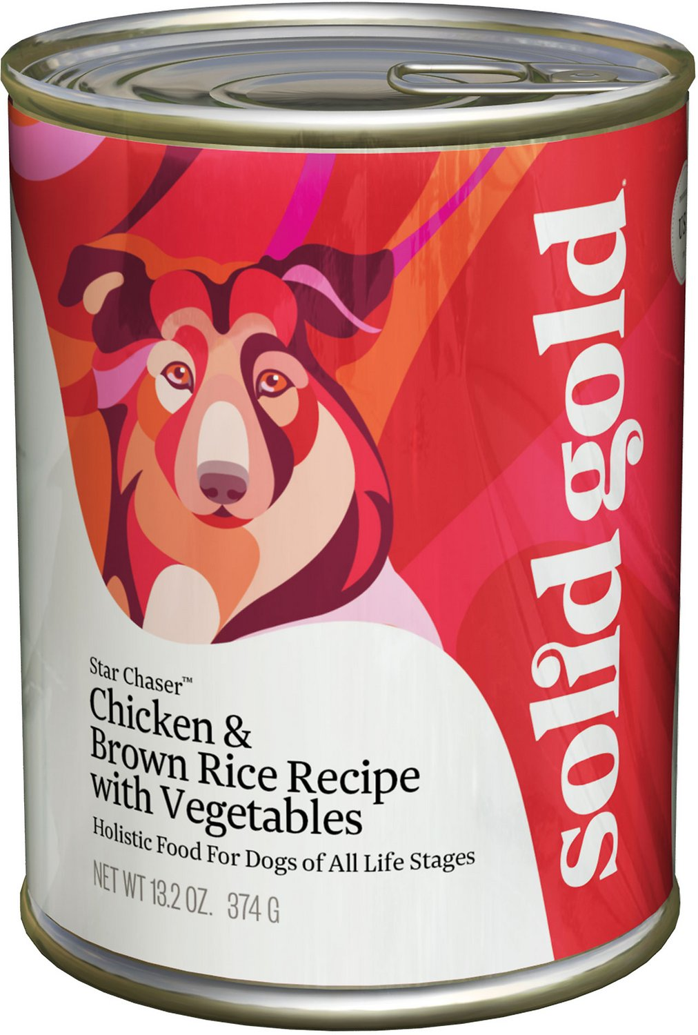 Solid Gold Star Chaser Chicken & Brown Rice Recipe with Vegetables Canned Dog Food, 13.2-oz