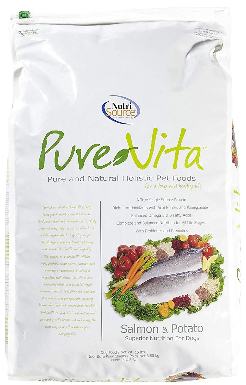 PureVita Salmon & Potato Formula Dry Dog Food, 15-lb