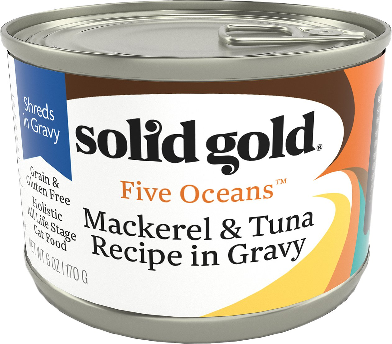 Solid Gold Five Oceans Mackerel & Tuna Recipe in Gravy Grain-Free Canned Cat Food