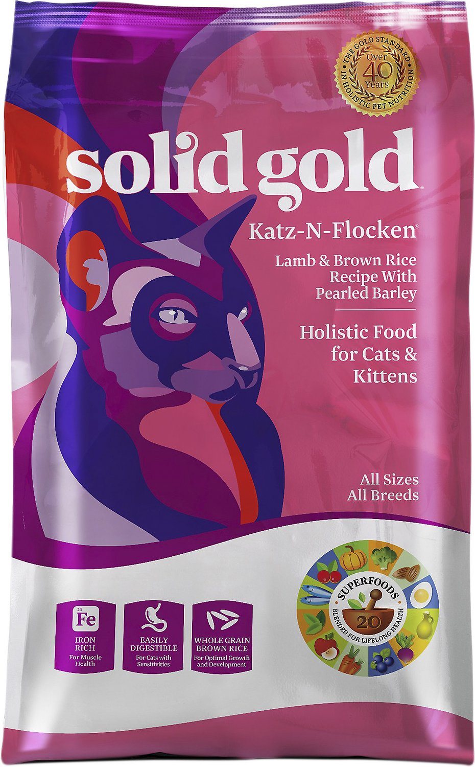 Solid Gold Katz-n-Flocken Lamb & Brown Rice Recipe with Pearled Barley Dry Cat Food Image