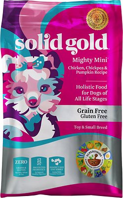 Solid Gold Mighty Mini Chicken, Chickpeas & Pumpkin Grain-Free Toy & Small Breed Dry Dog Food, 11-lb bag
