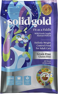 Solid Gold Fit as a Fiddle with Fresh Caught Alaskan Pollock Grain-Free Adult Dry Cat Food, 3-lb bag