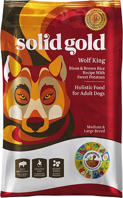 Solid Gold Wolf King Bison & Brown Rice Recipe with Sweet Potatoes Adult Dry Dog Food, 4-lb bag