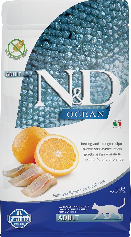 Farmina N&D Ocean Herring & Orange Adult Grain-Free Dry Cat Food, 11-lb