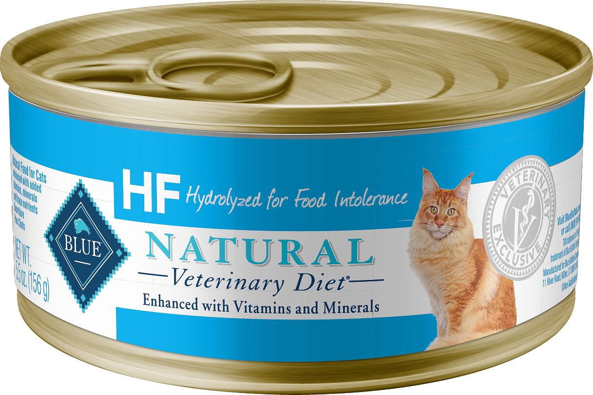 Blue Buffalo Natural Veterinary Diet HF Hydrolyzed for Food Intolerance Grain-Free Canned Cat Food, 5.5-oz