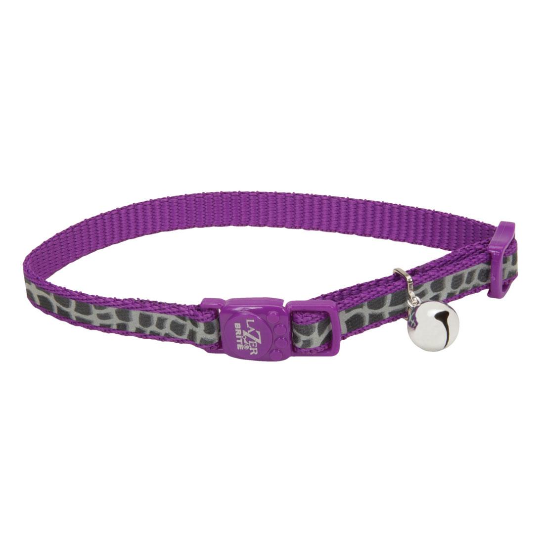 Coastal Pet Lazer Brite Reflective Adjustable Breakaway Cat Collar, Purple Animal Print, 3/8-in