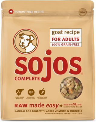 Sojos Complete Goat Recipe Adult Grain-Free Freeze-Dried Raw Dog Food, 1.75-lb bag