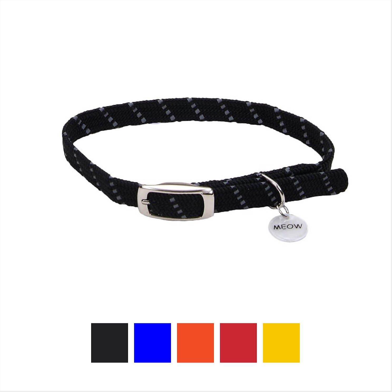 ElastaCat Reflective Safety Stretch Cat Collar, Black, 10-in