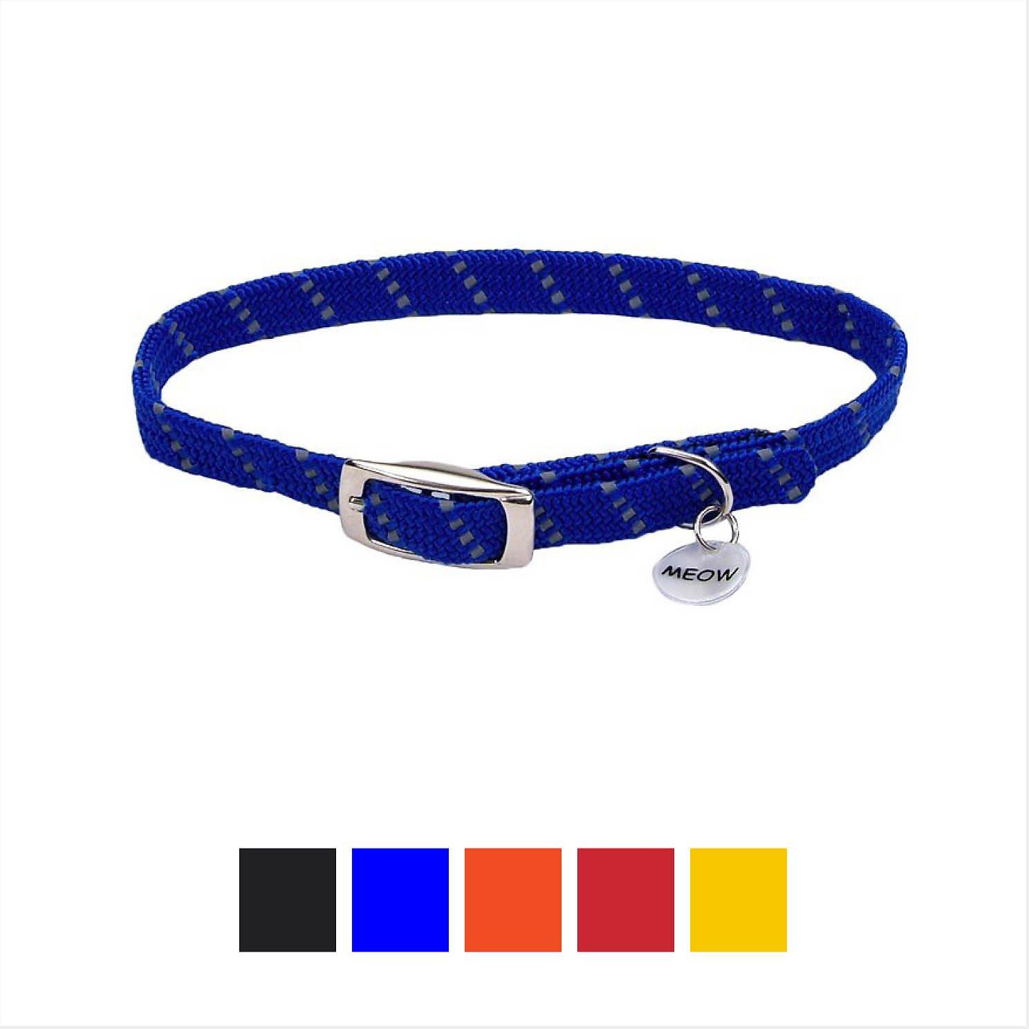 ElastaCat Reflective Safety Stretch Cat Collar, Blue, 10-in