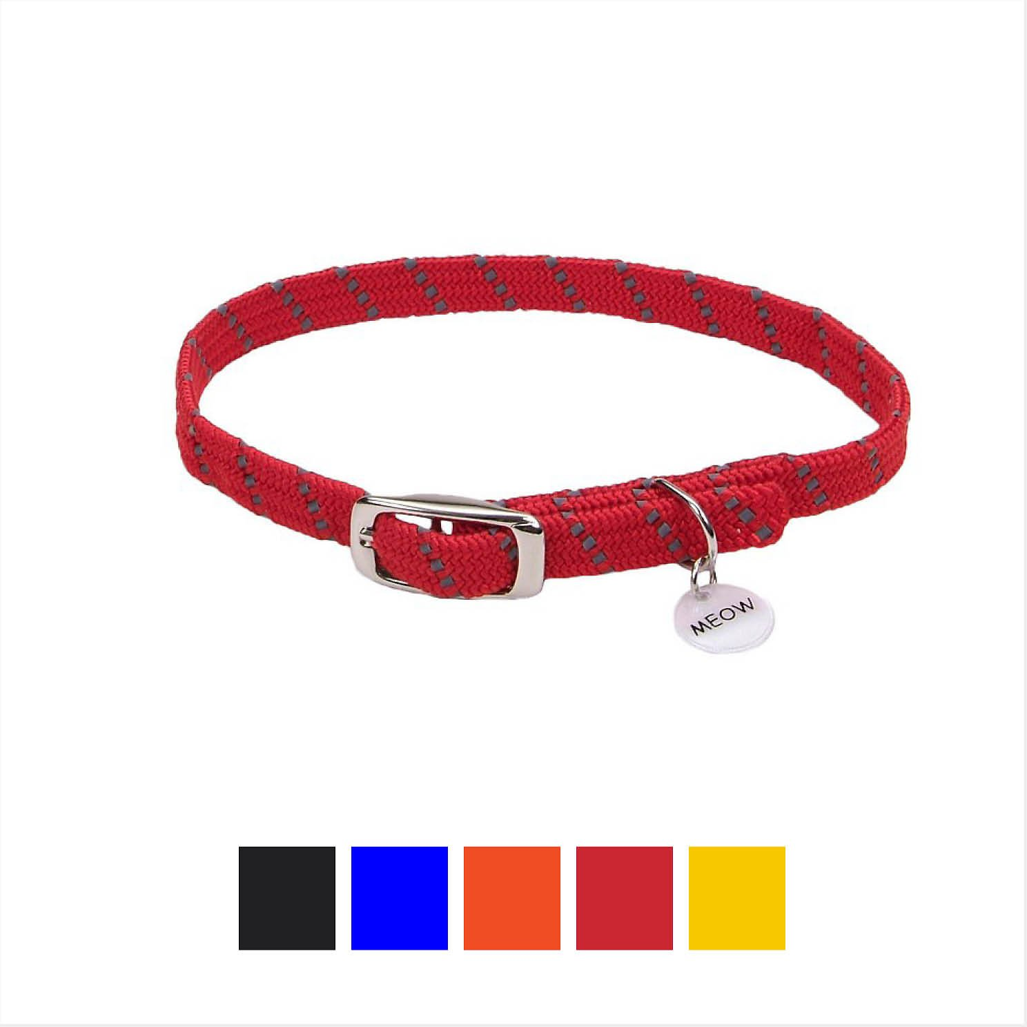 ElastaCat Reflective Safety Stretch Cat Collar, Red, 10-in