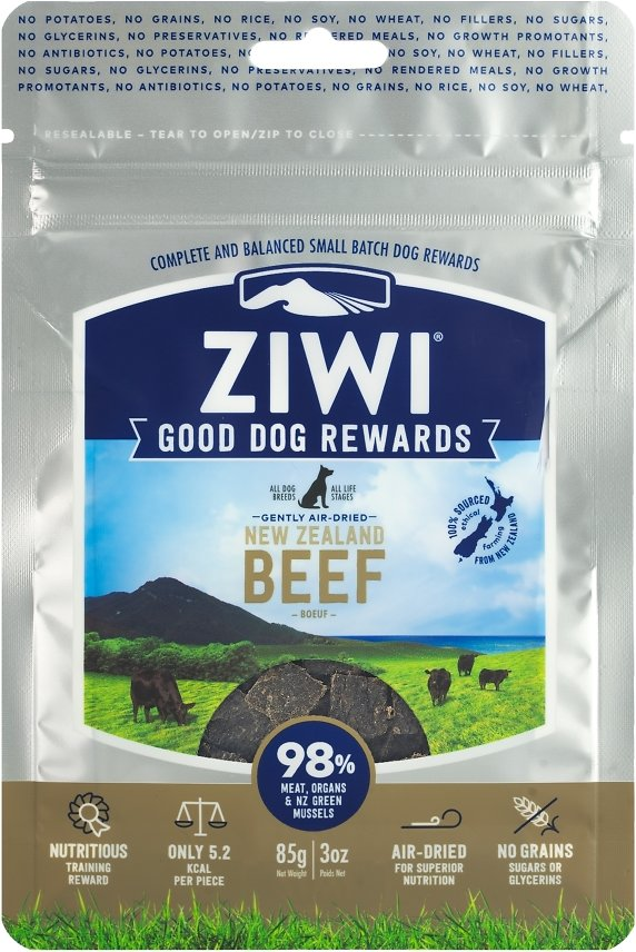 Ziwi Dog Peak Good Dog Rewards Beef Recipe Air-Dried Dog Treats, 3-oz bag
