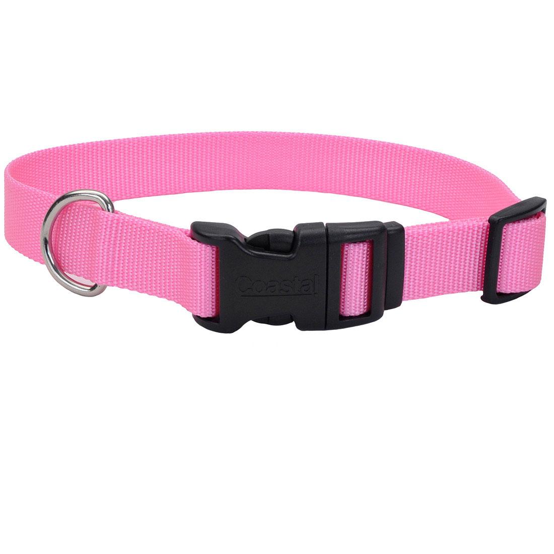 Coastal Pet Adjustable Nylon with Tuff Buckle Dog Collar, Bright Pink, 1-in Nylon x 14-in-20-in Neck Girth