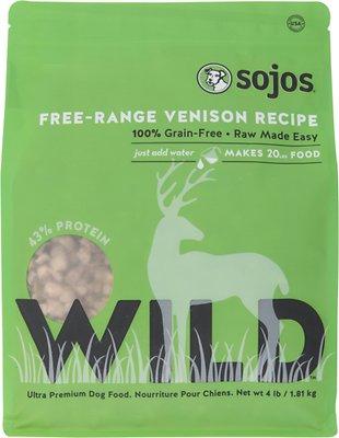 Sojos Wild Free-Range Venison Recipe Grain-Free Freeze-Dried Dog Food, 4-lb bag