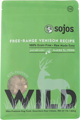 Sojos Wild Free-Range Venison Recipe Grain-Free Freeze-Dried Dog Food, 1-lb bag