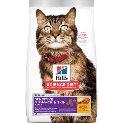Hill's Science Diet Adult Sensitive Stomach & Skin Dry Cat Food, 15.5-lb bag