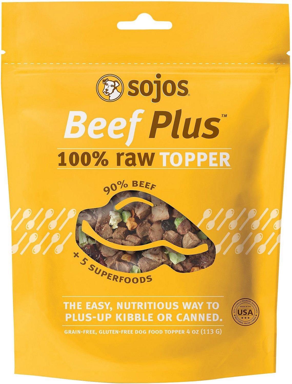 Sojos Beef Plus 100% Raw Grain-Free Dog Food Topper, 4-oz bag