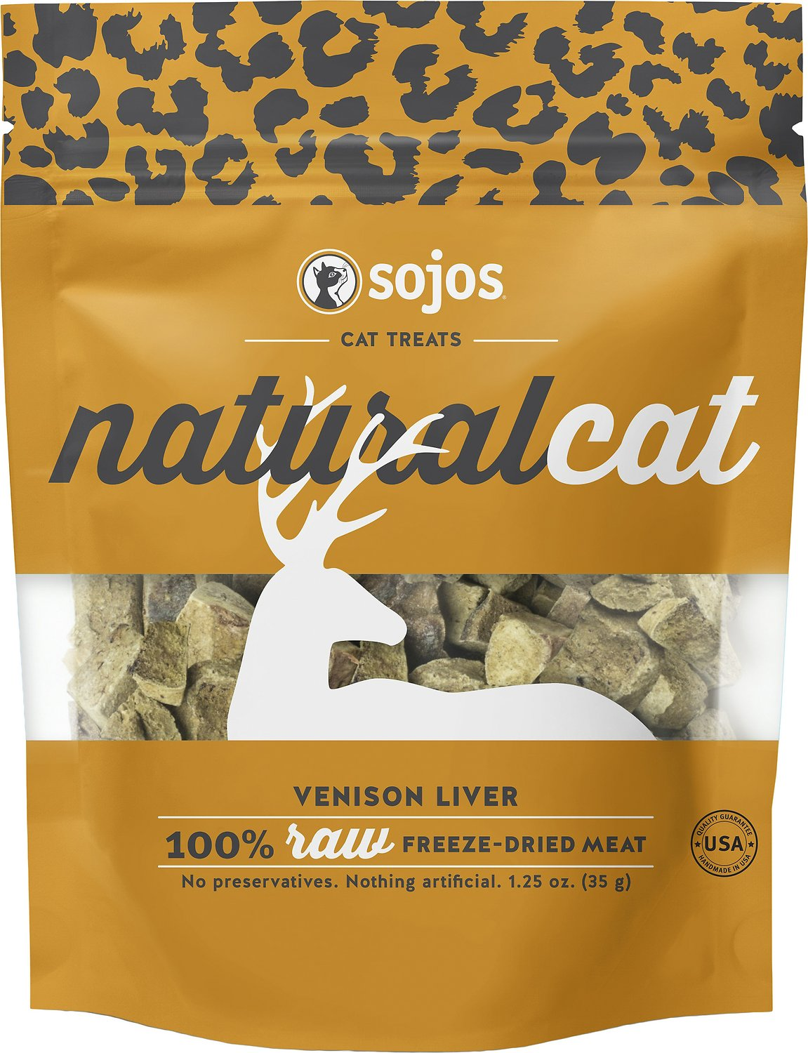 Sojos NaturalCat Venison Liver Freeze-Dried Cat Treats, 1.25-oz bag