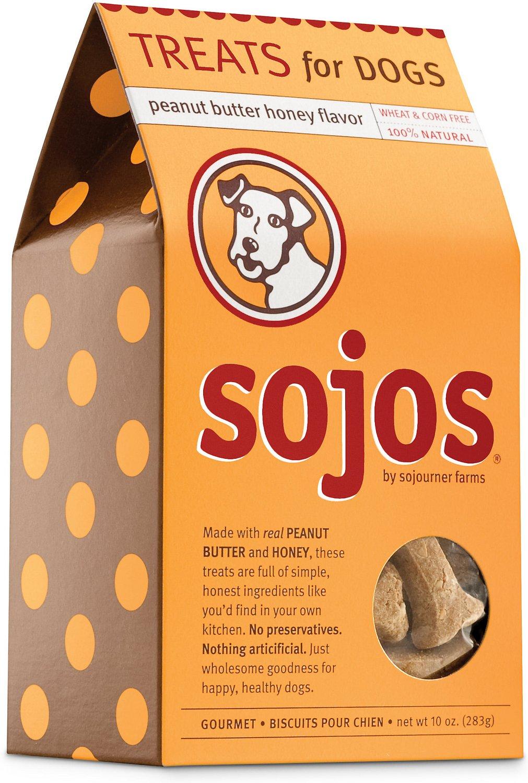 Sojos Peanut Butter Honey Flavor Dog Treats, 10-oz box