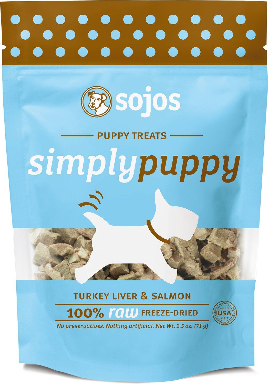 Sojos Simply Turkey Liver & Salmon Puppy Freeze-Dried Dog Treats, 2.5-oz bag