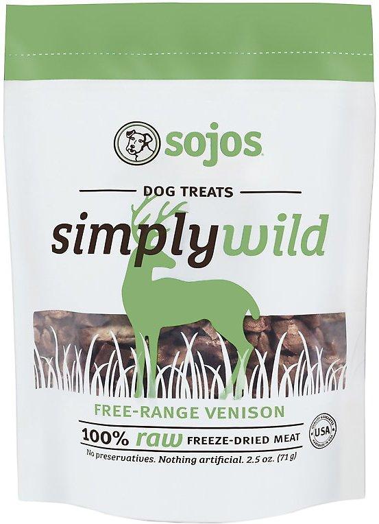 Sojos Simply Wild Venison Freeze-Dried Dog Treats, 2.5-oz bag