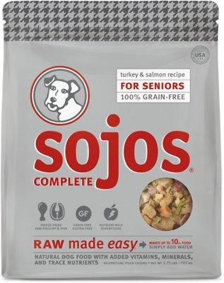 Sojos Complete Turkey & Salmon Recipe Senior Grain-Free Freeze-Dried Raw Dog Food, 1.75-lb bag