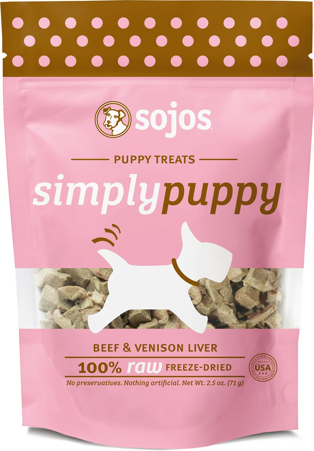 Sojos Simply Beef & Venison Puppy Freeze-Dried Dog Treats, 2.5-oz bag