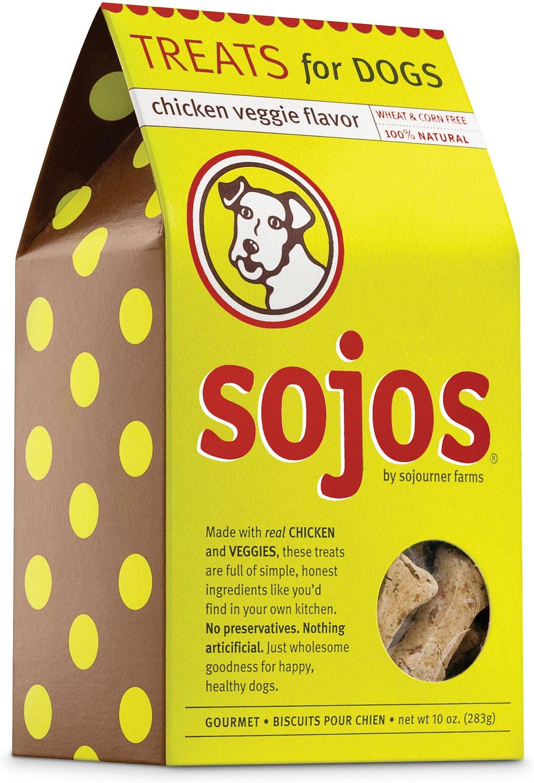 Sojos Chicken Veggie Flavor Dog Treats, 10-oz box
