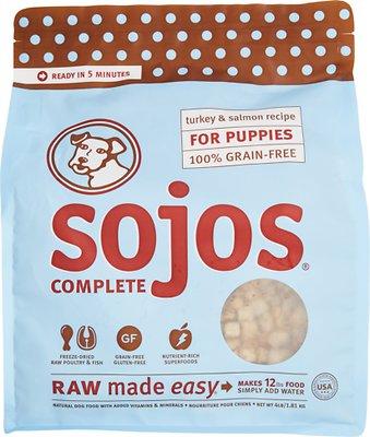 Sojos Complete Turkey & Salmon Puppy Recipe Grain-Free Freeze-Dried Raw Dog Food, 4-lb bag