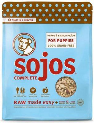 Sojos Complete Turkey & Salmon Puppy Recipe Grain-Free Freeze-Dried Raw Dog Food, 1-lb bag