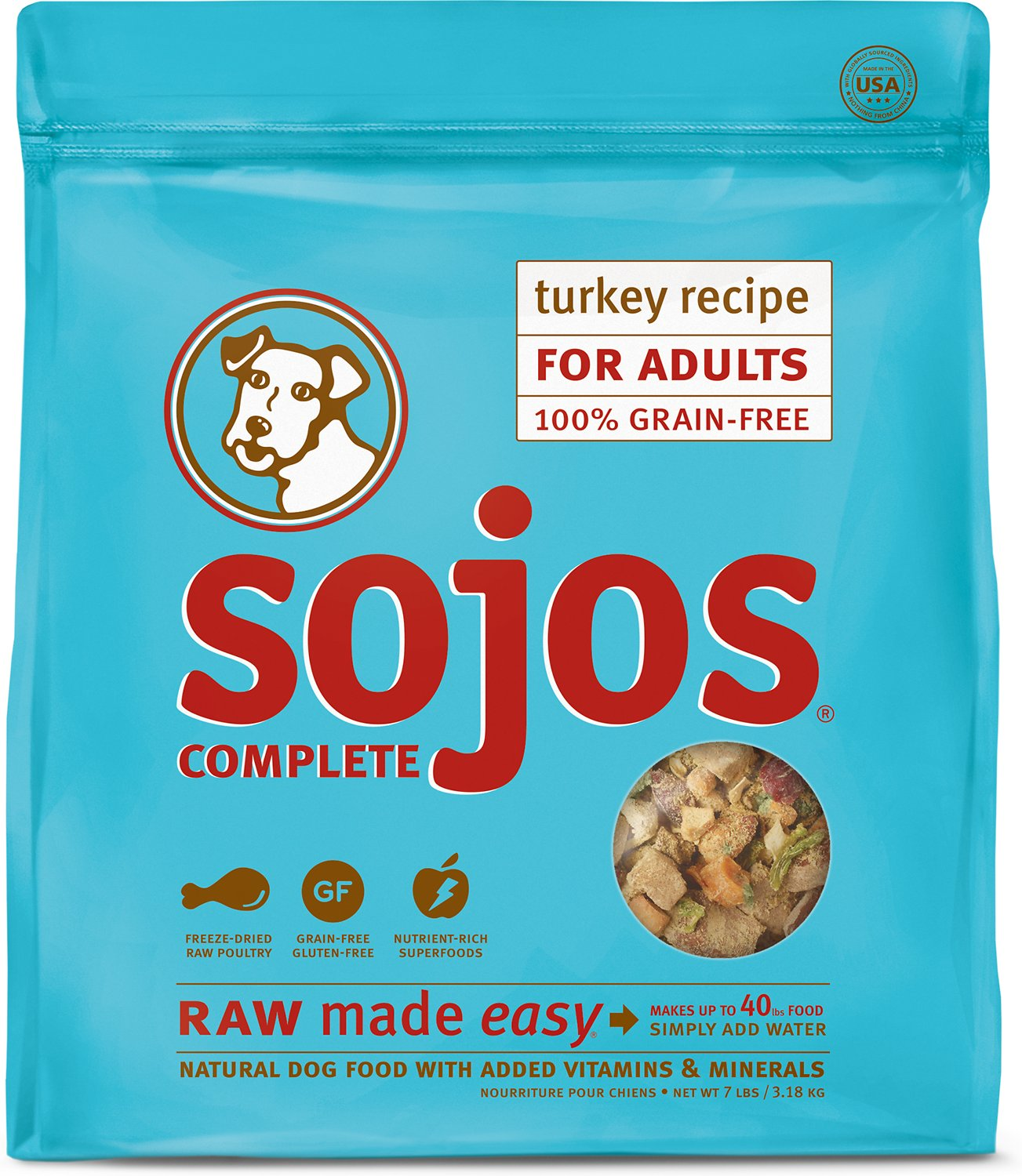 Sojos Complete Turkey Recipe Adult Grain-Free Freeze-Dried Raw Dog Food Image