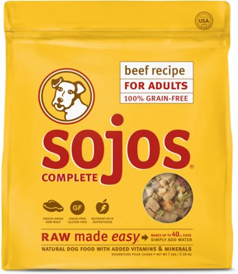 Sojos Complete Beef Recipe Adult Grain-Free Freeze-Dried Raw Dog Food, 7-lb bag