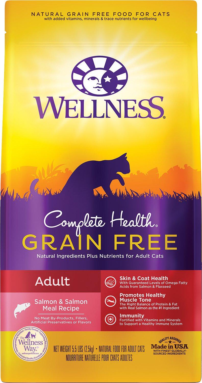 Wellness Complete Health Salmon & Salmon Meal Grain-Free Adult Dry Cat Food, 5.5-lb