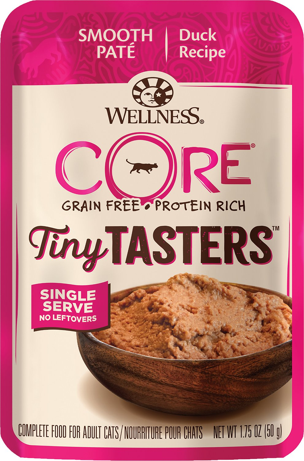 Wellness CORE Tiny Tasters Duck Pate Grain-Free Cat Food Pouches, 1.75-oz
