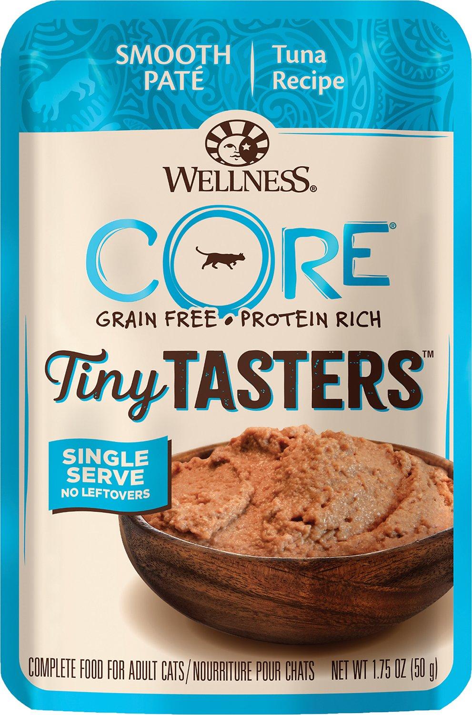 Wellness CORE Tiny Tasters Tuna Pate Grain-Free Cat Food Pouches, 1.75-oz