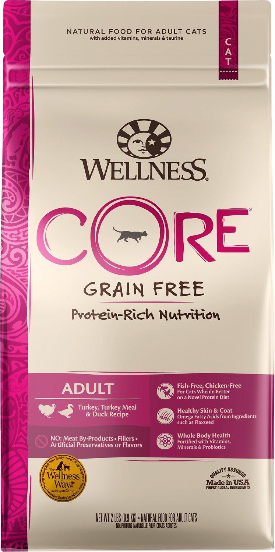 Wellness CORE Grain-Free Turkey, Turkey Meal & Duck Formula Dry Cat Food, 2-lb
