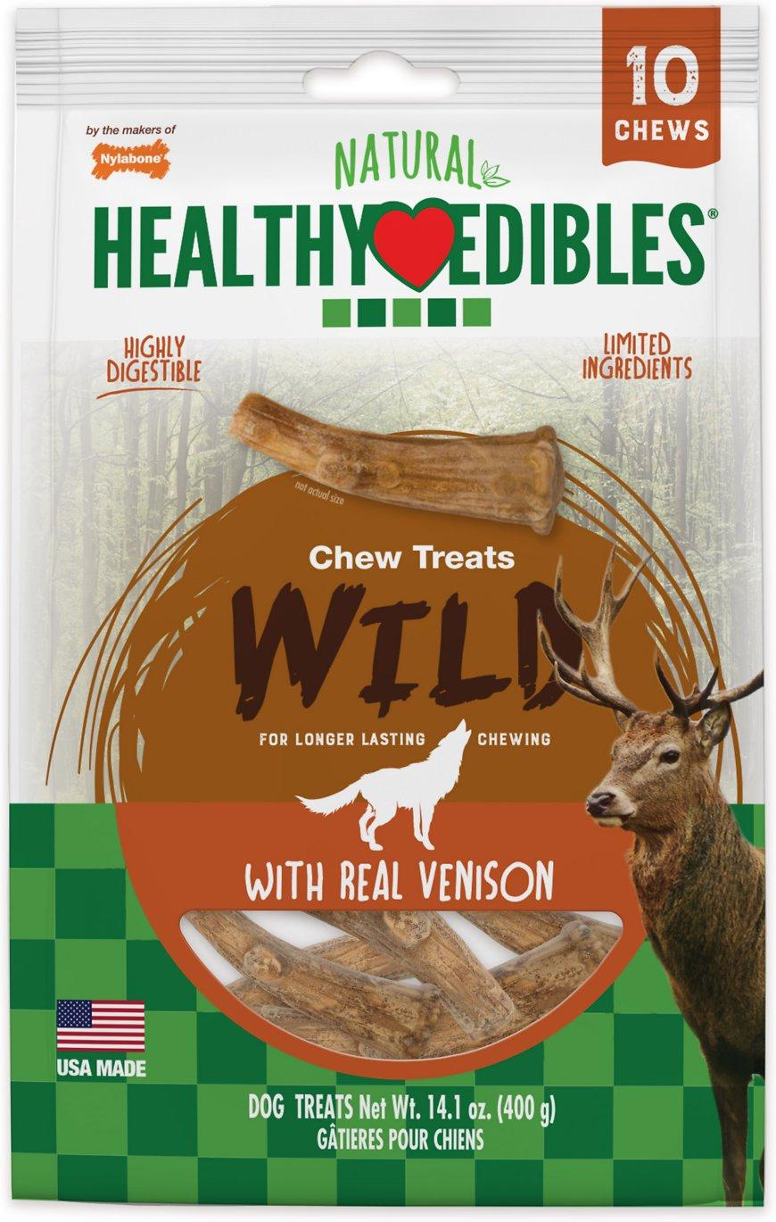 Nylabone Healthy Edibles Venison Flavored Antler Wolf Dog Treats, 10-count