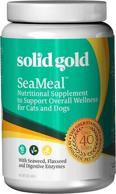 Solid Gold Supplements SeaMeal Skin & Coat, Digestive & Immune Health Powder Grain-Free Dog & Cat Supplement, 1-lb jar