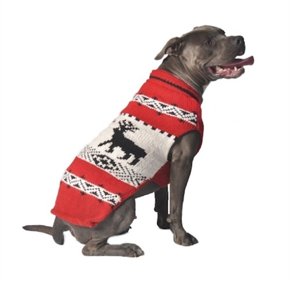 Chilly Dog Red Reindeer Shawl Dog Sweater, X-Small