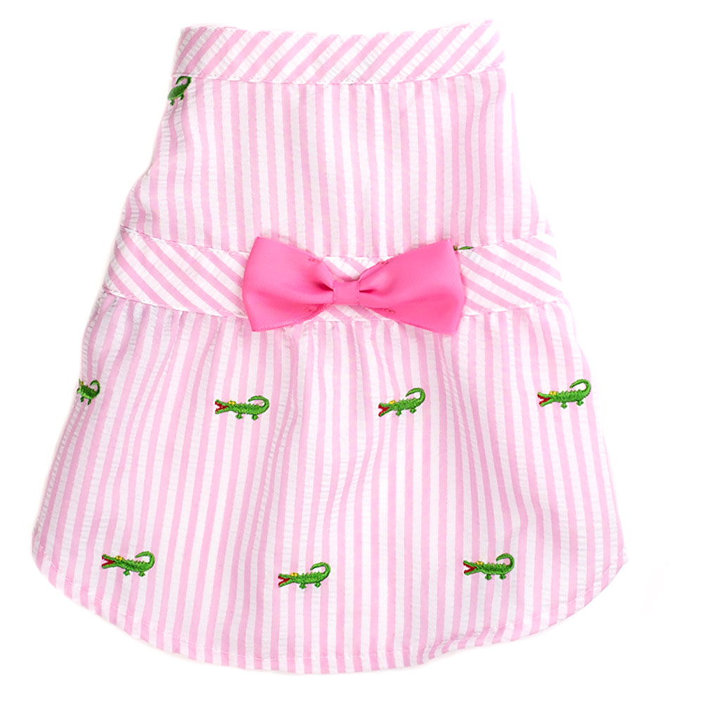 The Worthy Dog Dress, Pink Stripe Alligator, Small