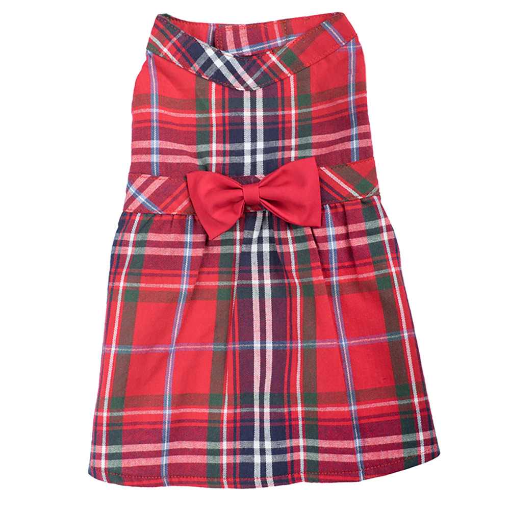 The Worthy Dog Dress, Red Plaid, Large