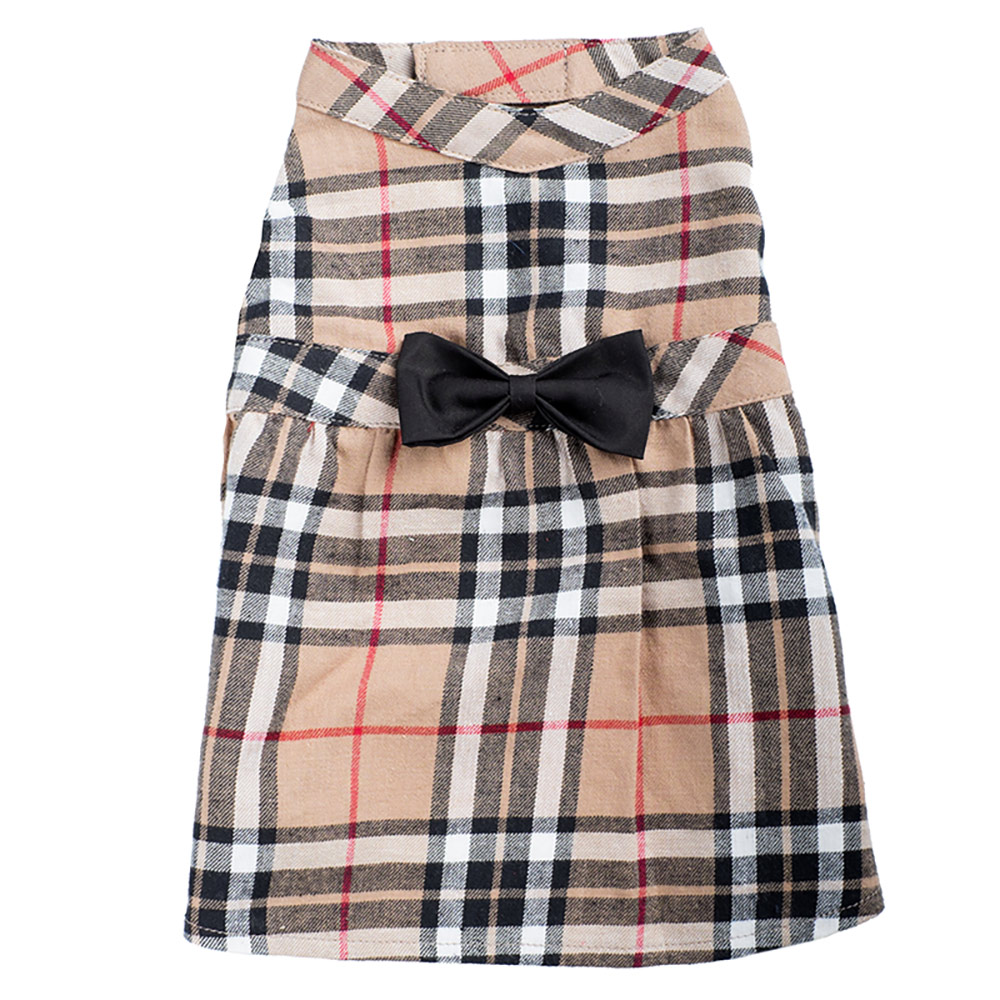 The Worthy Dog Dress, Tan Plaid, Small