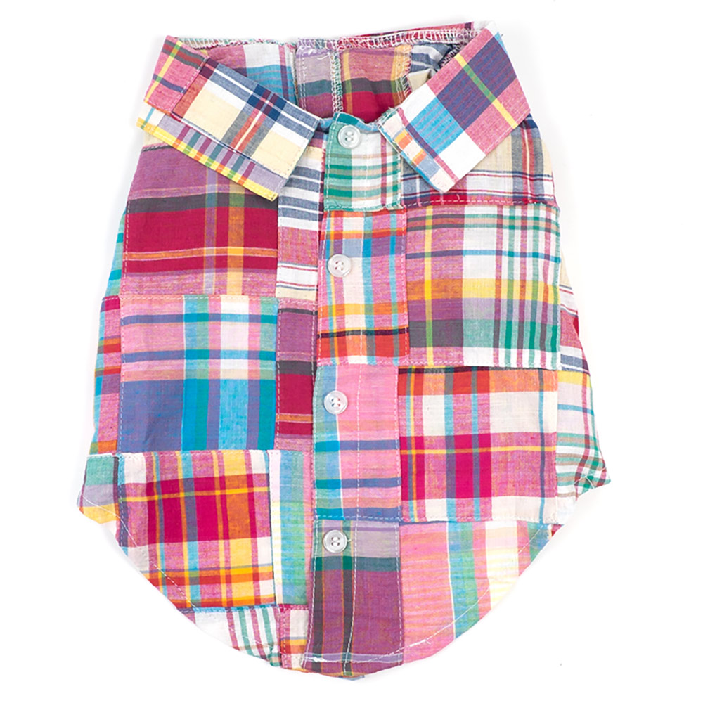 The Worthy Dog Shirt, Bright Patch Madras, Large