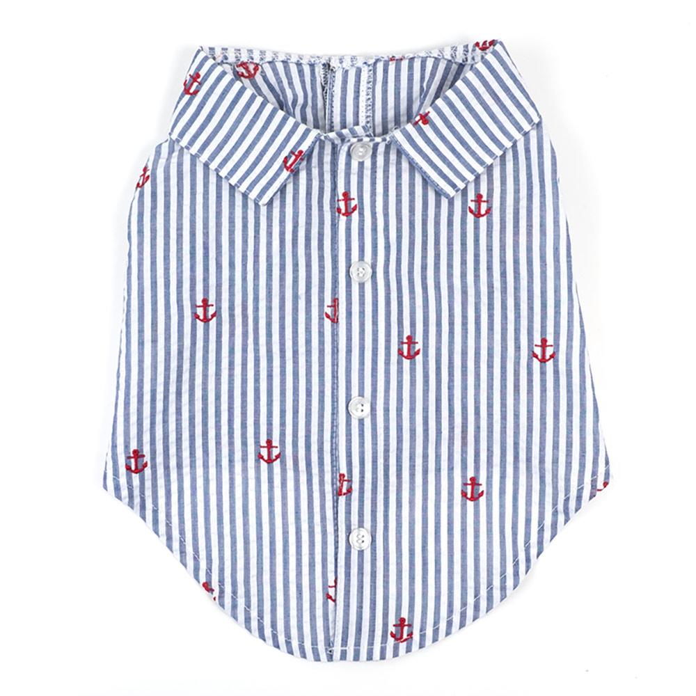 The Worthy Dog Shirt, Navy Stripe Anchor, Medium