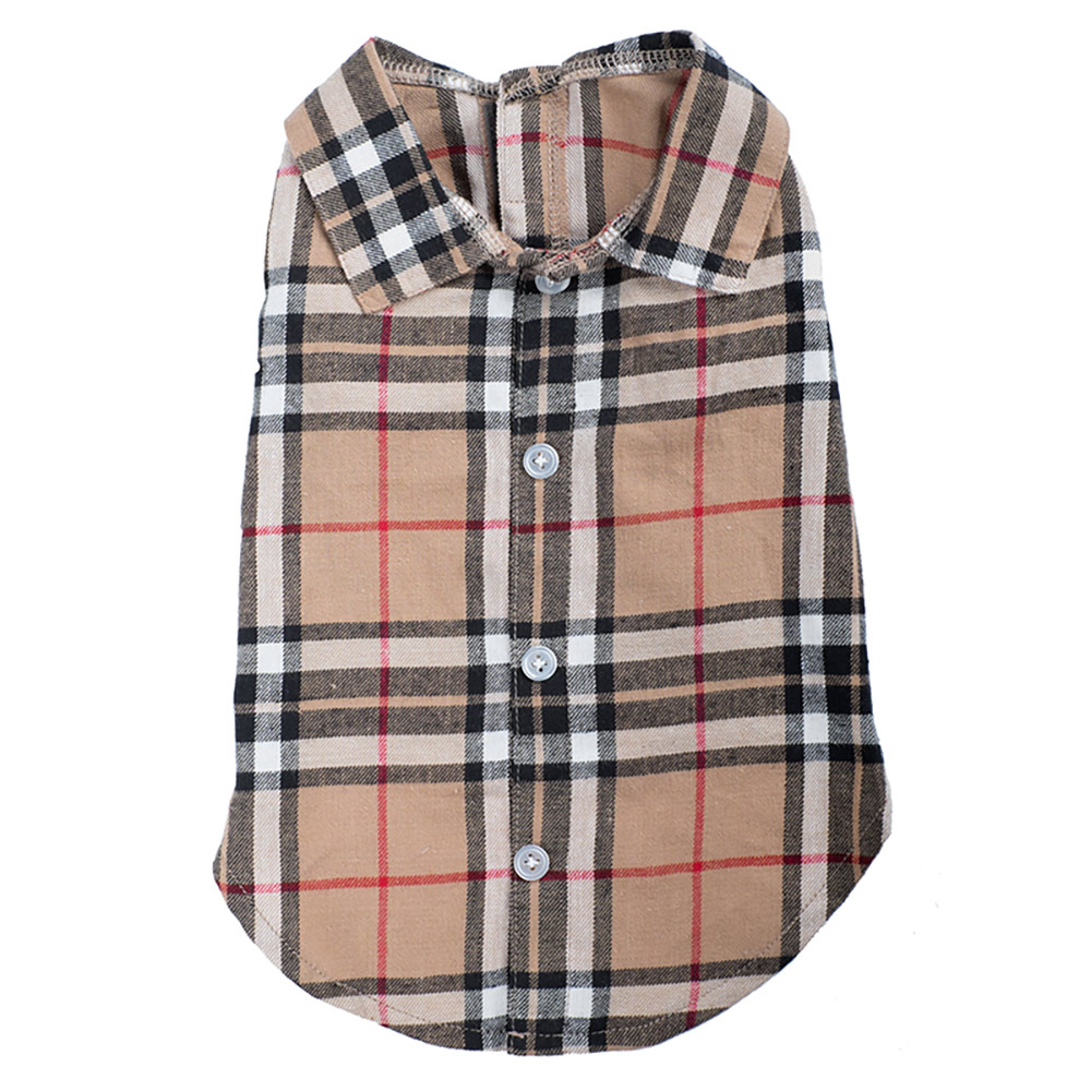 The Worthy Dog Shirt, Tan Plaid, X-Small