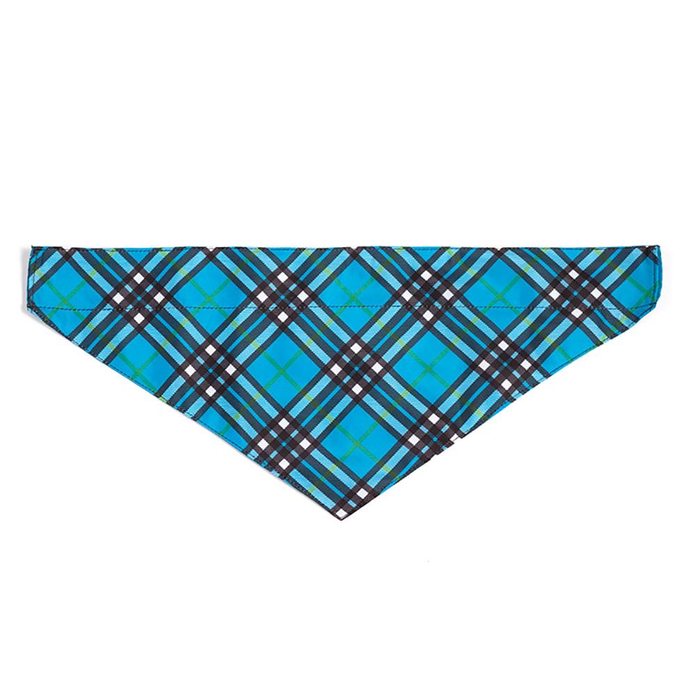The Worthy Dog Bandana, Plaid Blue, Large