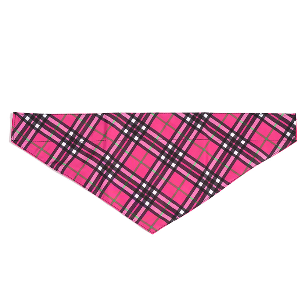 The Worthy Dog Bandana, Plaid Hot Pink, Large