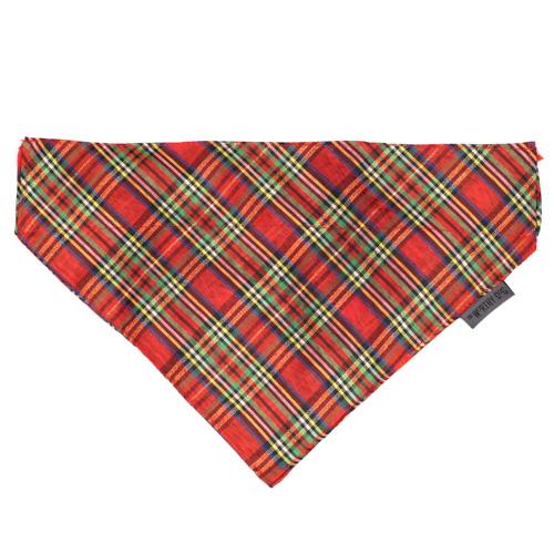 The Worthy Dog Bandana, Holiday Red Lurex Plaid, Large