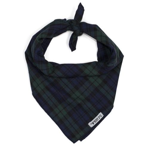 The Worthy Dog Tie Bandana, Black Watch Plaid, Large