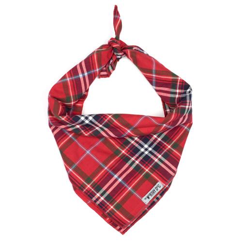 The Worthy Dog Tie Bandana, Red Plaid, Small
